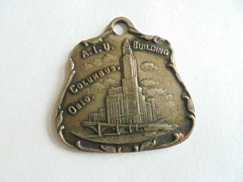 Antique A.I.U. Building Columbus Ohio Souvenir Watch Fob or Keychain Fob