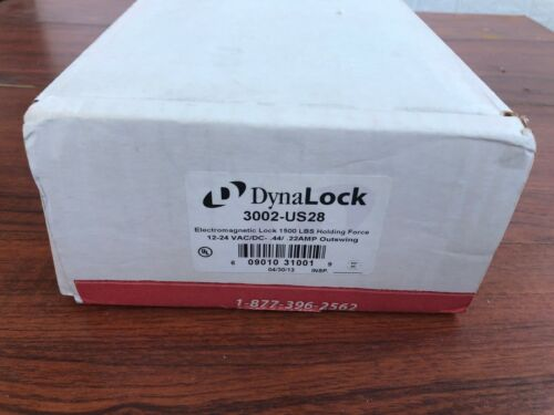 New  Dynalock 3002-US28  1500 LBS Force Double Outswing  SM Electromagnetic Lock