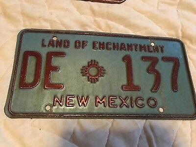 1970s New Mexico License Plate DE 137