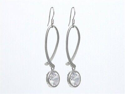Silver-Tone French Wire Twist Hoop Dangle CZ Crystal Earrings E790 - French Twist Earrings
