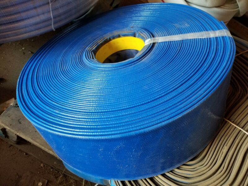 "BLUE PVC LAY FLAT DISCHARGE HOSE 4"" ID X 300"