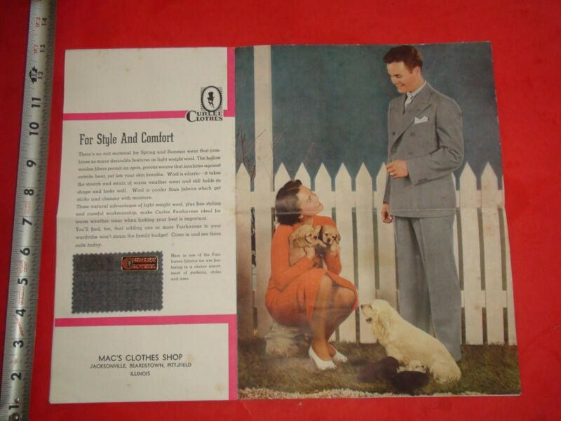 JB22 Vintage 1937 Clothing Catalog Ad Curlee Clothes Sample Attached