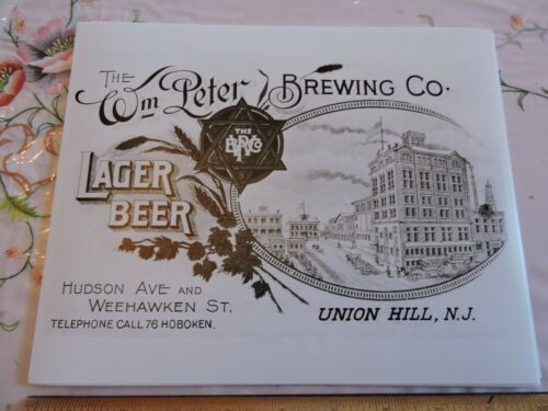 1899 Wm Peter Brewing Co. Brewery Beer Union Hill Hoboken New Jersey NJ Photo