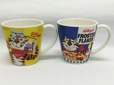 Vintage Kellogg's 2005 Tony the Tiger Frosted Flakes of Corn 2 Mug Set 14 oz EUC