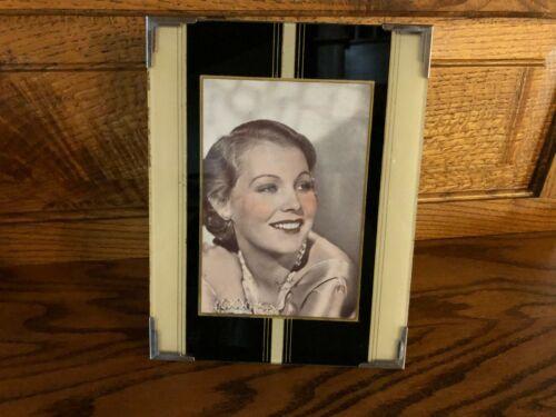 Vintage Art Deco Black/Cream  Reverse Painted Glass Picture Frame /Muriel Evans