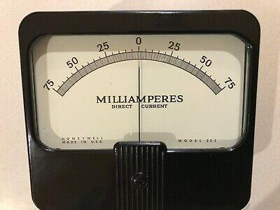 Vintage Honeywell Type 55i -75 - 75 Ma Dc Analog Panel Meter New In Box