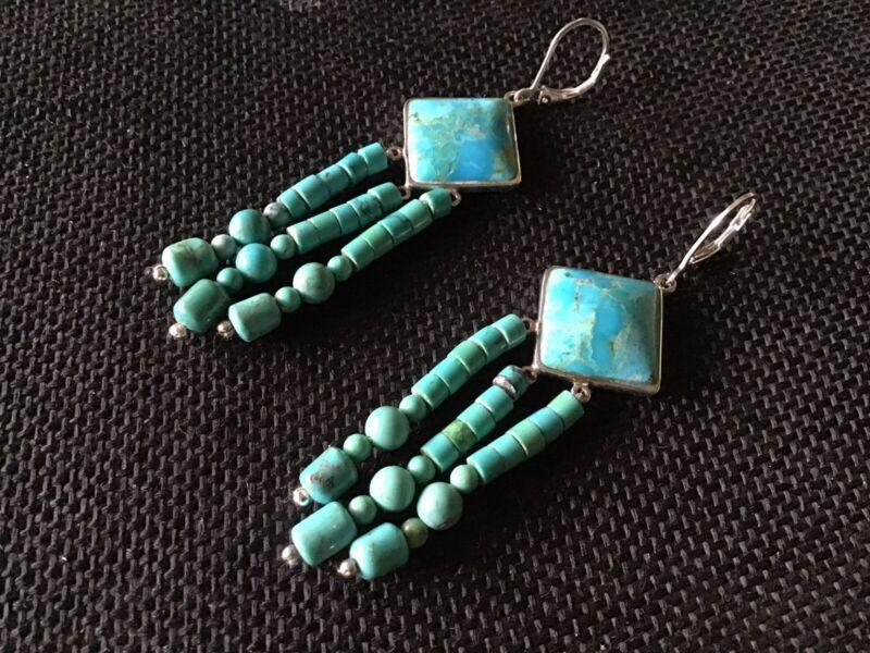 Beautiful Blue Green Turquoise Earrings In Sterling Silver
