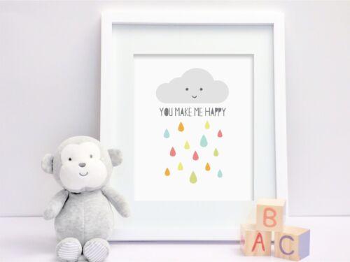 Happy Cloud  - Nursery Print - Wall Art - Kids Bedroom - Baby Room - Rainbow