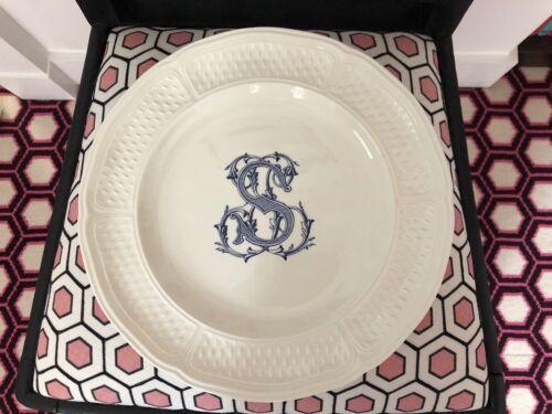 "GIEN PONT AUX CHOUX CREAM DINNER PLATES - 10 7/8""  ""S"" Monogramed 1409B"
