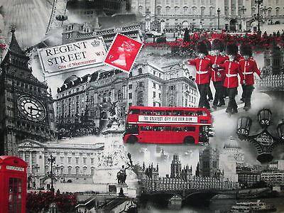 REGENT STREET LONDON FAMOUS SITES ROYALS UK BUS BOBBIES ROYAL COTTON FABRIC FQ - Craft Sites