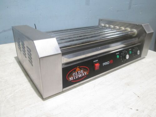 """OLDE MIDWAY"" HEAVY DUTY COMMERCIAL COUNTER-TOP HOT DOG SS ROLLER GRILL"