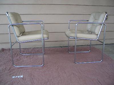 Vintag Pair Mid Century Modern Chrome Leather Tubular Cantilever Sling Chairs