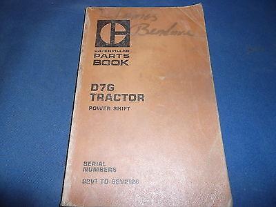 Cat Caterpillar D7g Crawler Tractor Dozer Parts Book Manual Sn 92v1-2126