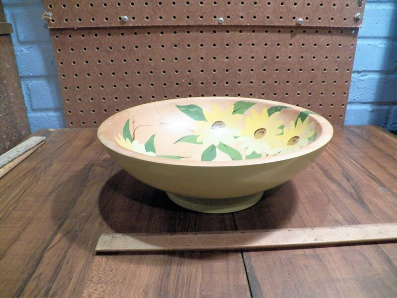 Vintage ROBINHOOD WARE Hand Painted Wood Bowl  - Los Angeles, California