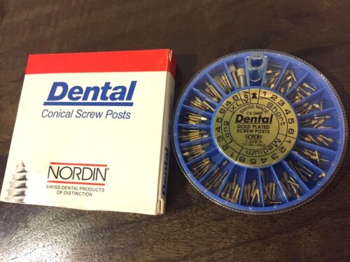 Dental Screw Post Authentic NORDIN Complete Kit Gold 120 Posts 2 Key Wrench Tool