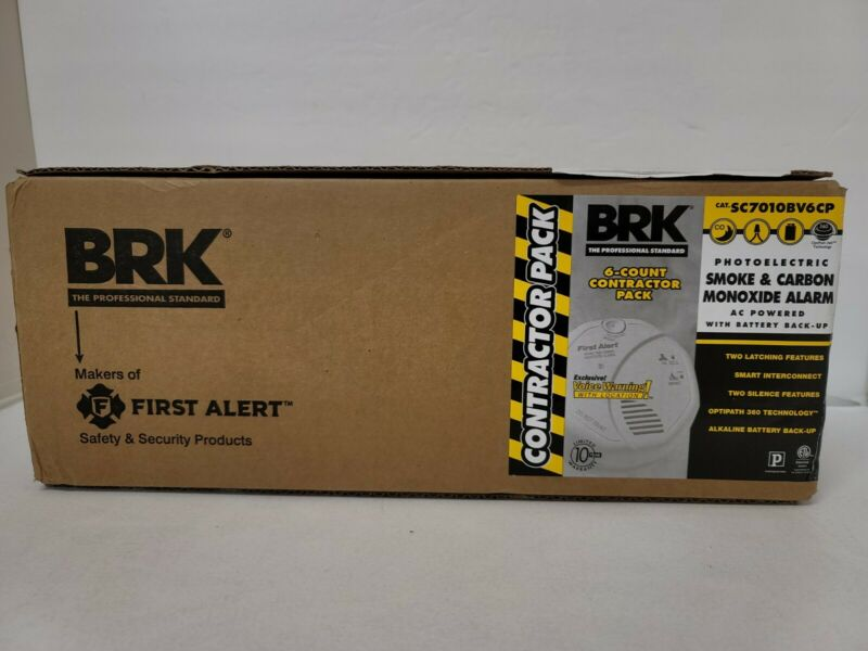 BRK 6 Count Contractor Pack Smoke & Carbon Monoxide Alarms SC7010BV6CP NEW