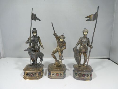 3 GERMAN HANAU STERLING SILVER AND JEWELED KNIGHTS, GREAT TABLE FARE