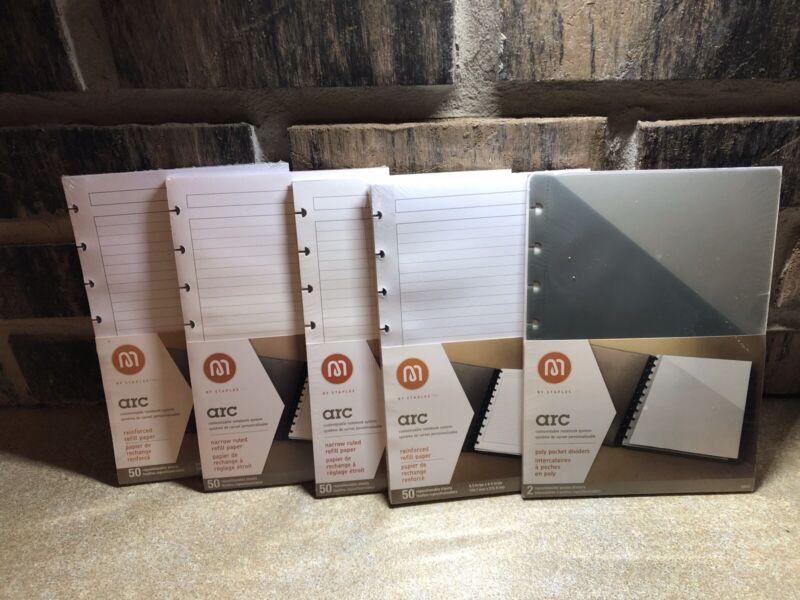 "COMBO Staples Arc Notebook FOUR Paper Refills PLUS 1 pkg Dividers 5.5""x8.5"""