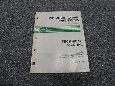 John Deere M653 M655 M665 Mid-mount Ztrak Shop Service Repair Manual Tm1778