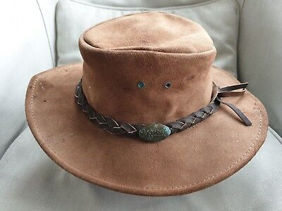 JACARU Australian Leather Hat light Brown Wild Roo Style Kids or adult Small , used for sale  Oxford