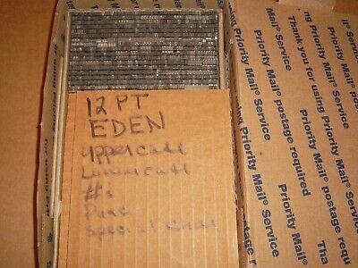 Vintage Nice Serif 12 Pt. Eden Letterpress Printing Alloy Type Font Upperlwr..