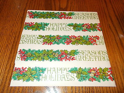 - VTG MERRY CHRISTMAS WRAPPING PAPER GIFT WRAP GREEN HOLLY GREETINGS HAPPY HOLIDAY