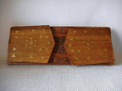CARVED BOOK SLIDE - WITH BRASS INSET DECORATION IN GOOD CONDITION