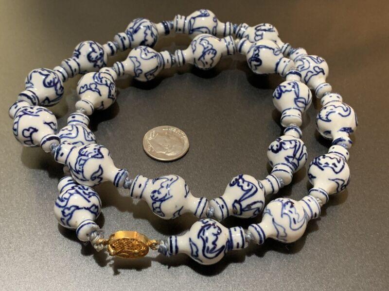 "Vintage Asian Chinese Blue White Porcelain Bats Vase Beads Necklace 24"" 25mm"