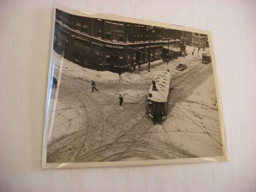 "Vtg Photo TMER&L Co. Milwaukee WI Streetcar - Snow Storm 1947 8"" X 10"" -  #6"