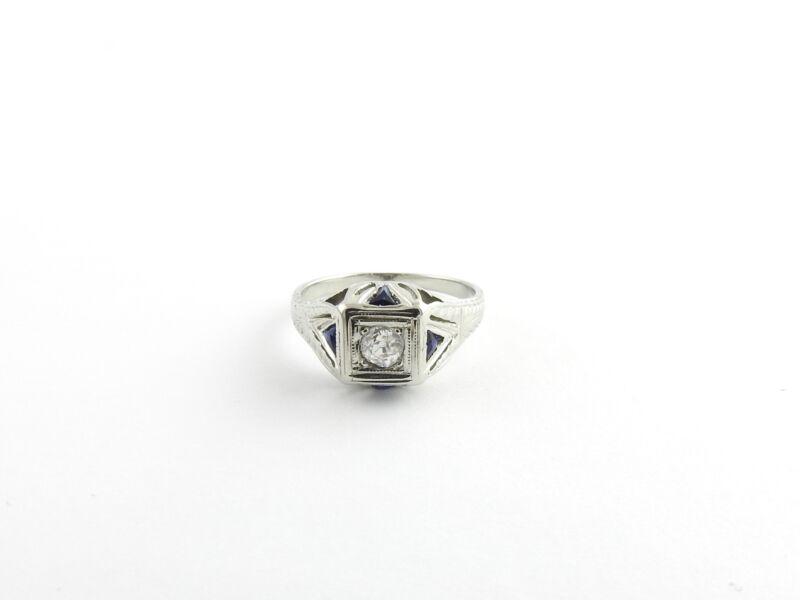 Vintage 18 Karat White Gold Diamond and Sapphire Ring Size 4.25 #6280