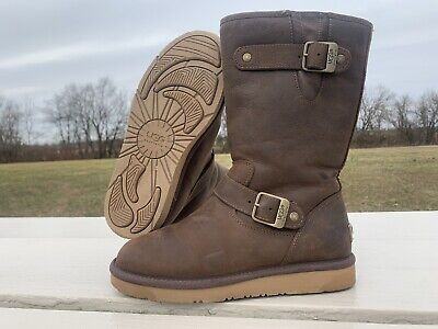 UGG Australia 5678 Sutter Brown Leather Moto Fur Lined Boots 7