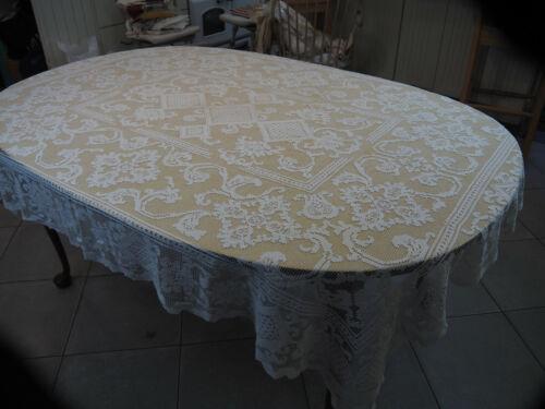"Linen  Lace Tablecloth 68"" X 56""  Antique Ecru Mondano Netting hand made"