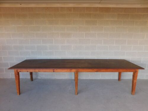"""Antique Barn Wood Shaker Style Farm Dining Table 129.5""""L"""