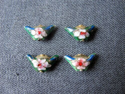 4 Vintage nice colors & shape double sided cloisonne enamel flower loose beads
