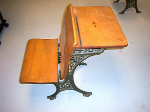 Antique-Cast-Iron-and-Wood-School-Desk-Mint-Condition