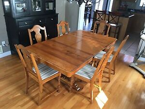 Antique wood table with extension