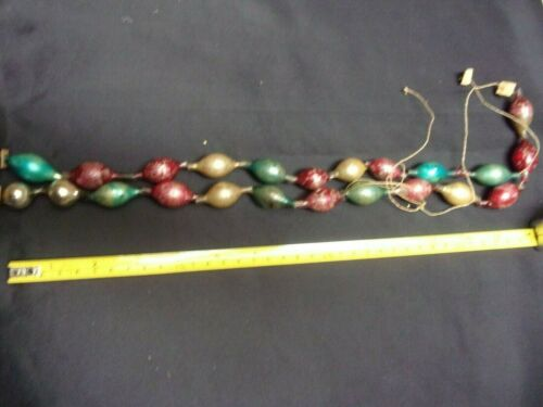 Two Antique Victorian Garland Christmas Mercury Glass Hand Blown, Oval Beads