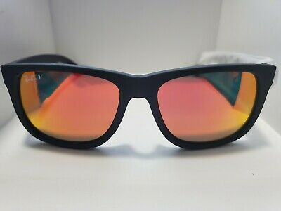 BRAND NEW Ray-Ban RB4165 Justin 622/6Q Polarized Black Frame Red Mirror (Ray Ban Colored Frames)