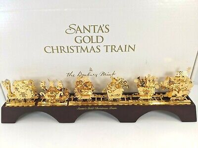 Danbury Mint Santa's Gold Christmas Train 7-Piece Display Set w/ Box