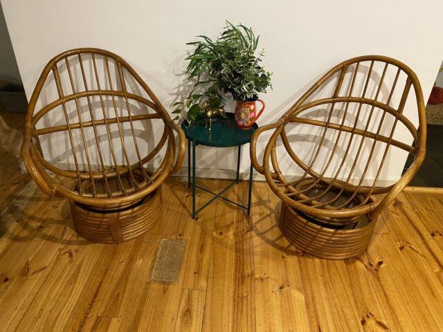 Vintage Rattan Bamboo Swivel Rocker Chairs   Armchairs ...