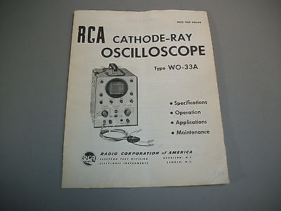 Rca Cathode-ray Oscilloscope Wo-33a Operating Manual Original Oem Copy