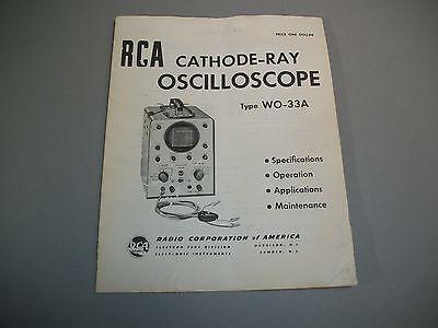 Rca Cathode-ray Oscilloscope Wo-33a Operating Manual Original Oem Copy
