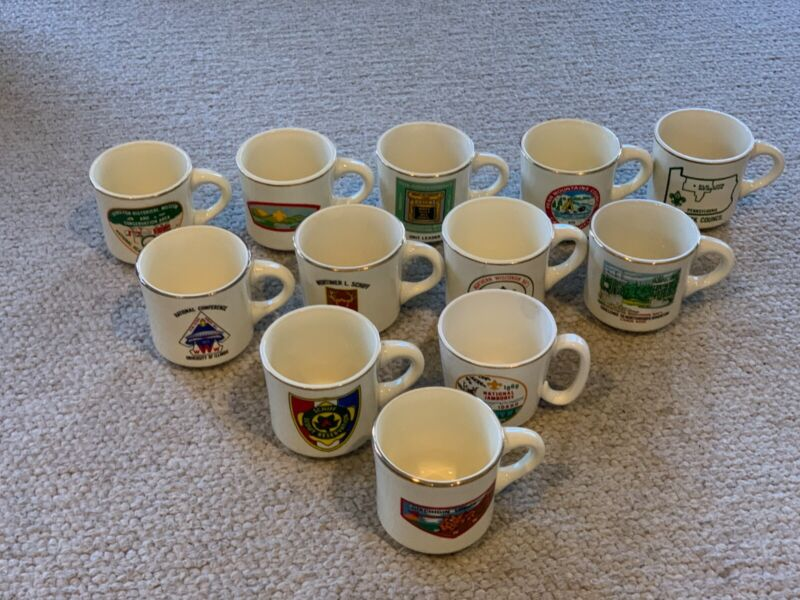 Lot Of 12 Vintage 1970s BSA Boy Scout Coffee Mugs Philmont Jamboree NOAC Schiff