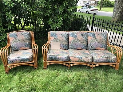 Antique Rattan Couch & Chair With Cushions ()