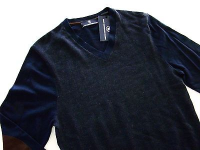 $150 Nwt Hart Schaffner Marx Navy Blue Wool Suede Patch V-Neck Sweater