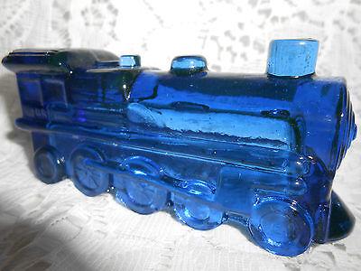 Blue Vaseline glass train steam engine uranium canary railroad car Cobalt RR art