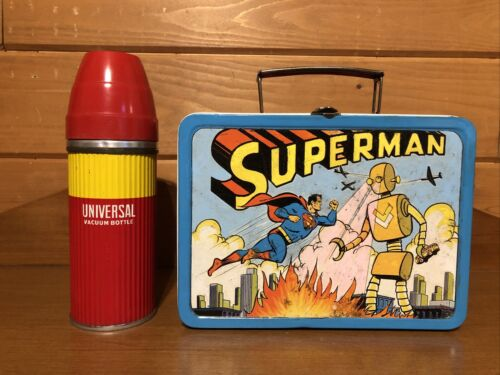 1954 Superman Lunchbox with Thermos  ADCO Lunch box and Univ