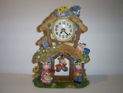 COW FAMILY & DAISY'S COUNTRY PENDULUM TABLE DESK MANTEL SHELF QUARTZ CLOCK