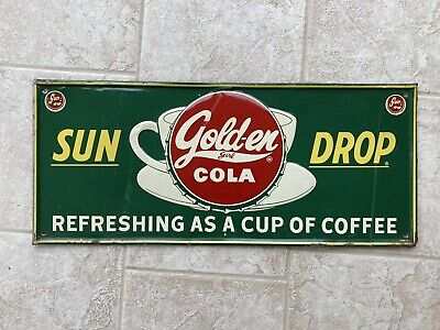 Vintage Golden Girl SUN DROP Cola Metal Sign Embossed Coffee Cup Nice Patina