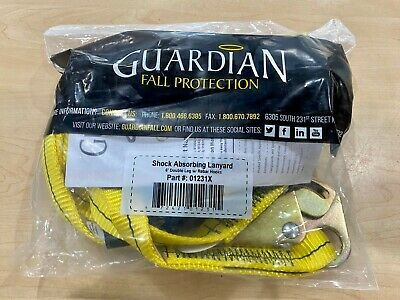Guardian 01231x Shock Absorbing Lanyard 6 Double Leg W Rebar Hooks Brand New